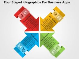 Four Staged Infographics For Business Apps Flat Powerpoint Design