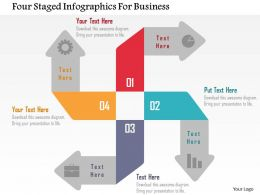 Four Staged Infographics For Business Flat Powerpoint Design