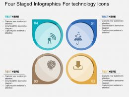 Four Staged Infographics For Technology Icons Flat Powerpoint Design