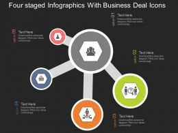 Four Staged Infographics With Business Deal Icons Flat Powerpoint Desgin