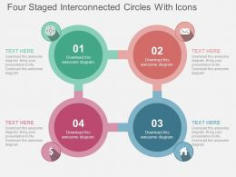 Four Staged Interconnected Circles With Icons Flat Powerpoint Design