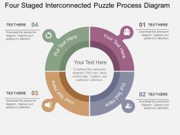 Four Staged Interconnected Puzzle Process Diagram Flat Powerpoint Design