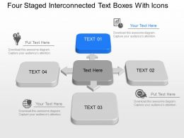 Four Staged Interconnected Text Boxes With Icons Powerpoint Template Slide