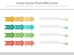 Four Staged Linear Arrow Chart With Icons Flat Powerpoint Design