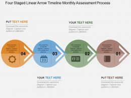 Four Staged Linear Arrow Timeline Monthly Assessment Process Flat Powerpoint Design