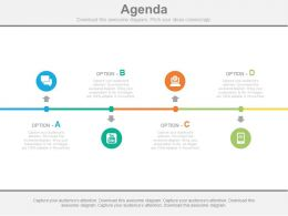 Four Staged Linear Business Agenda Diagram Powerpoint Slides