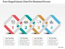 Four Staged Linear Chart For Business Process Flat Powerpoint Design