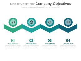 Four Staged Linear Chart For Company Objectives Flat Powerpoint Design