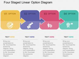 Four Staged Linear Option Diagram Flat Powerpoint Design