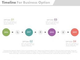 Four Staged Linear Timeline For Business Options Powerpoint Slides