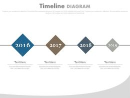 Four Staged Linear Timeline For Business Powerpoint Slides