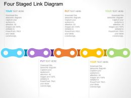 Four Staged Link Diagram Flat Powerpoint Design