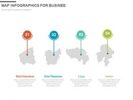Four Staged Map Infographics For Business Powerpoint Slides