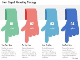 Four Staged Marketing Strategy Flat Powerpoint Design