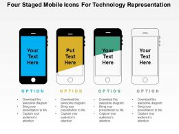 Four Staged Mobile Icons For Technology Representation Flat Powerpoint Design