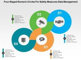 Four Staged Numeric Circles For Safety Measures Data Management Flat Powerpoint Design