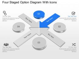 Four Staged Option Diagram With Icons Powerpoint Template Slide