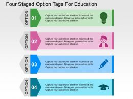 Four Staged Option Tags For Education Flat Powerpoint Design
