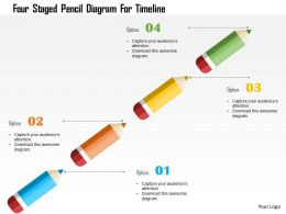 Four Staged Pencil Diagram For Timeline Flat Powerpoint Design
