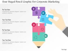 Four Staged Pencil Graphic For Corporate Marketing Flat Powerpoint Design