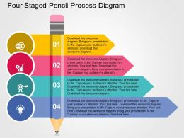 Four Staged Pencil Process Diagram Flat Powerpoint Design