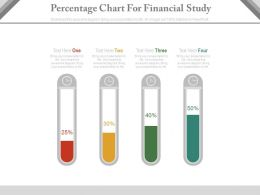 Four Staged Percentage Chart For Financial Study Powerpoint Slides