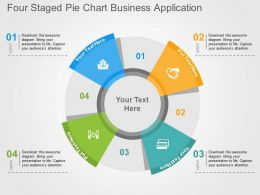 Four Staged Pie Chart Business Application Flat Powerpoint Design