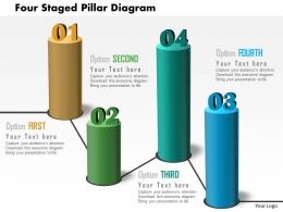 Four Staged Pillar Diagram Powerpoint Template