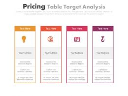 Four Staged Pricing Table Target Analysis Powerpoint Slides