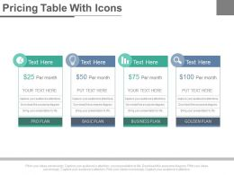 Four Staged Pricing Table With Icons Powerpoint Slides