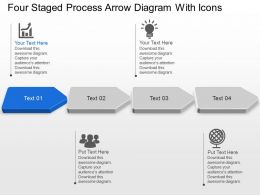 Four Staged Process Arrow Diagram With Icons Powerpoint Template Slide
