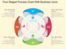 Four Staged Process Chart With Business Icons Flat Powerpoint Design