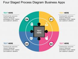 Four Staged Process Diagram Business Apps Flat Powerpoint Design
