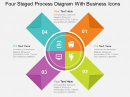 Four Staged Process Diagram With Business Icons Flat Powerpoint Design