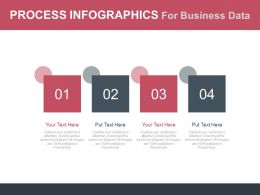 Four Staged Process Infographics For Business Data Flat Powerpoint Design