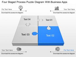Four Staged Process Puzzle Diagram With Business Apps Powerpoint Template Slide