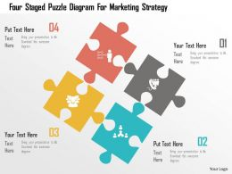 Four Staged Puzzle Diagram For Marketing Strategy Flat Powerpoint Design