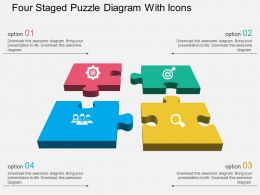 Four Staged Puzzle Diagram With Icons Flat Powerpoint Design