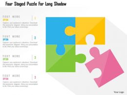 Four Staged Puzzle For Long Shadow Flat Powerpoint Design