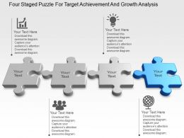 Four Staged Puzzle For Target Achievement And Growth Analysis Powerpoint Template Slide
