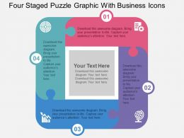 four_staged_puzzle_graphic_with_business_icons_flat_powerpoint_design_Slide01