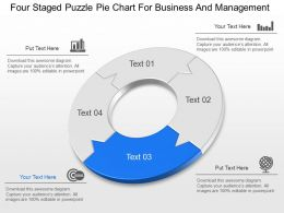 Four Staged Puzzle Pie Chart For Business And Management Powerpoint Template Slide
