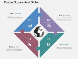 Four Staged Puzzle Square And Globe Ppt Presentation Slides