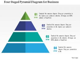Four Staged Pyramid For Business Data Representation Flat Powerpoint Design
