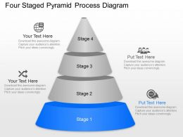 Four Staged Pyramid Process Diagram Powerpoint Template Slide