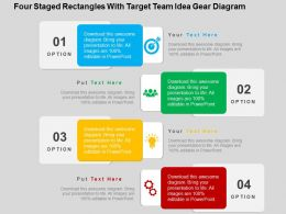 Four Staged Rectangles With Target Team Idea Gear Diagram Flat Powerpoint Design