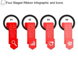 Four Staged Ribbon Infographic And Icons