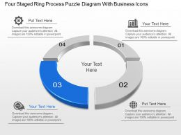 Four Staged Ring Process Puzzle Diagram With Business Icons Powerpoint Template Slide