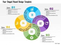 Four Staged Round Design Template Flat Powerpoint Design