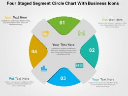 Four Staged Segment Circle Chart With Business Icons Flat Powerpoint Design